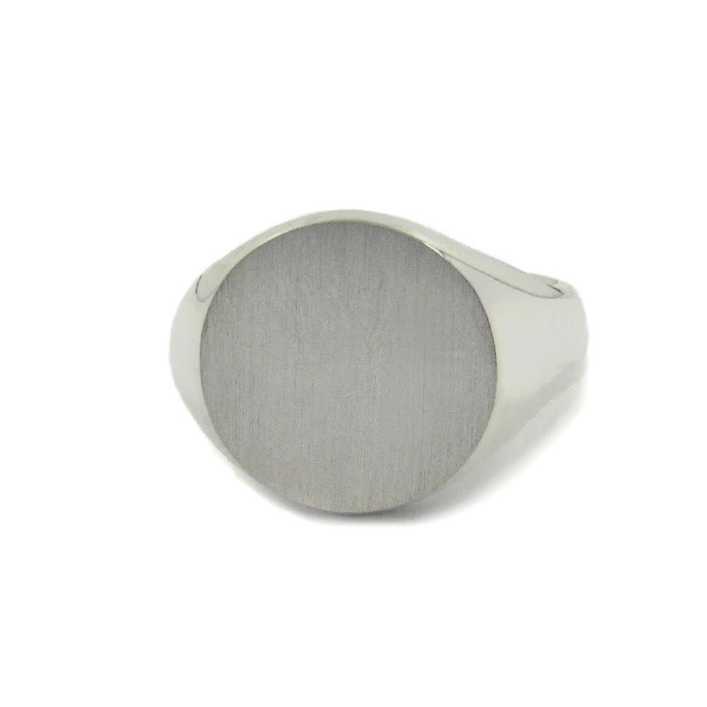 Siegelring in Weissgold mit Gravurplatte 13 mm rund