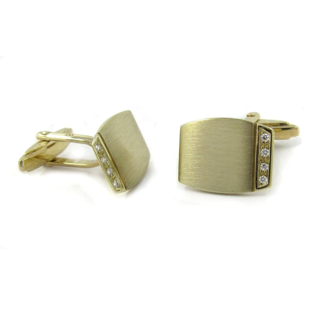 Manschettenknöpfe in Gold 16,5x12,5 mm, mit je 4 Brillanten