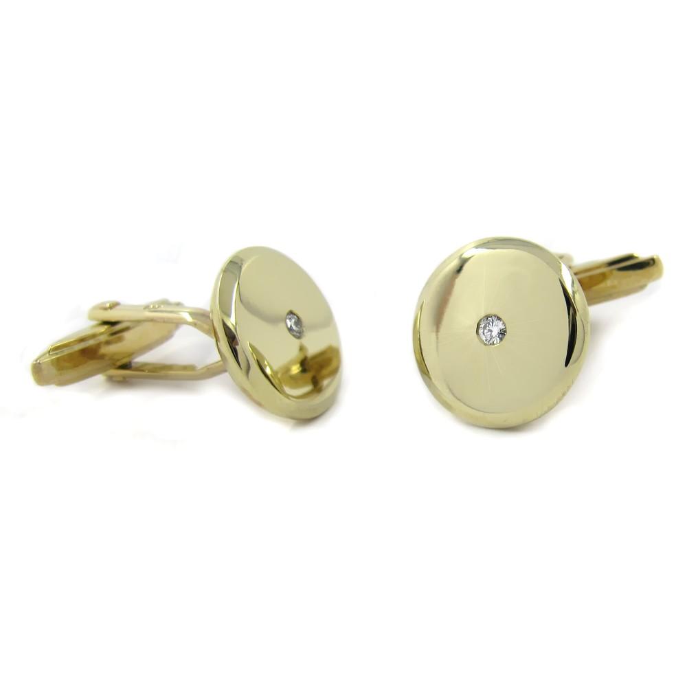 Manschettenknöpfe in Gold 14 mm rund, mit je 1 Brillant