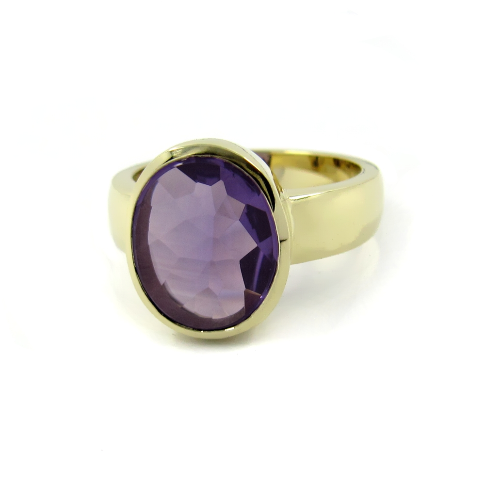 Siegelring in Gold mit Amethyst, Citrin, Aquamarin 12x10 mm oval