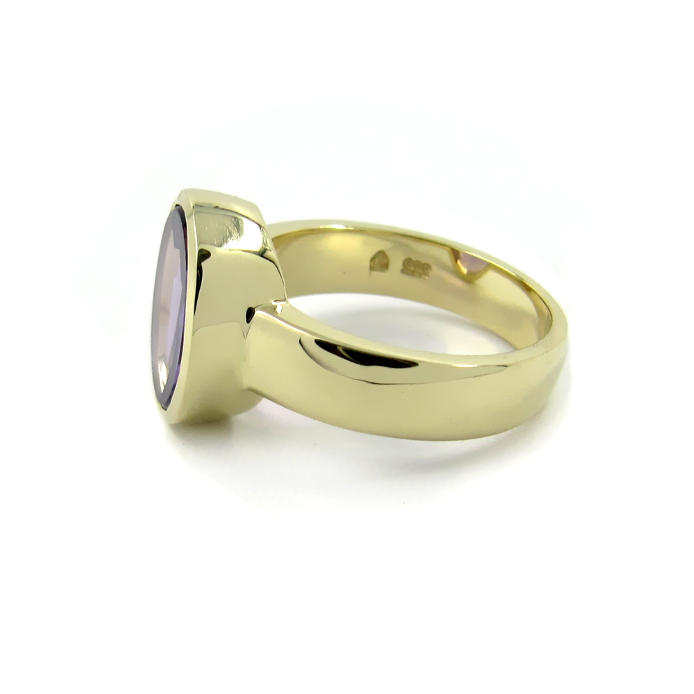 Siegelring in Gold mit Amethyst, Citrin, Aquamarin 12x10 mm oval