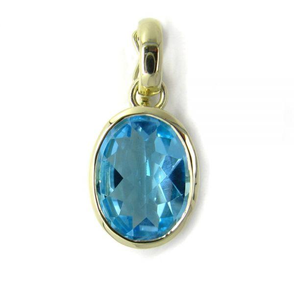 Clipanhänger in Gold mit Blautopas 16x12 mm oval