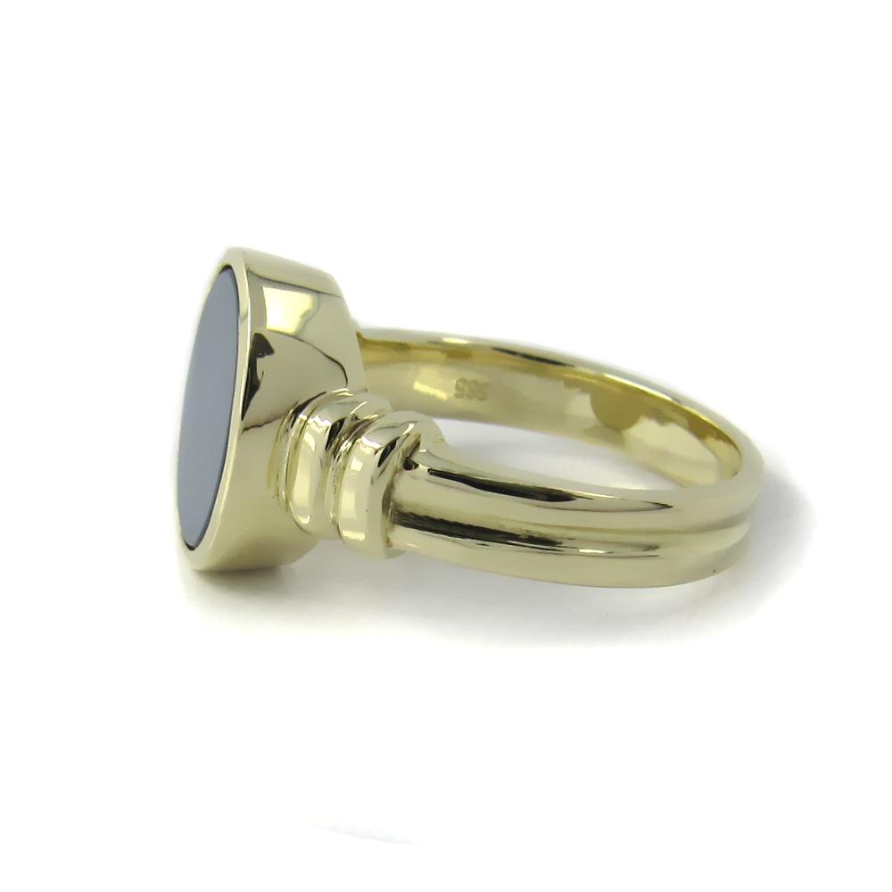 Siegelring in Gold mit Stein 12x10 mm oval mit Ringansatz