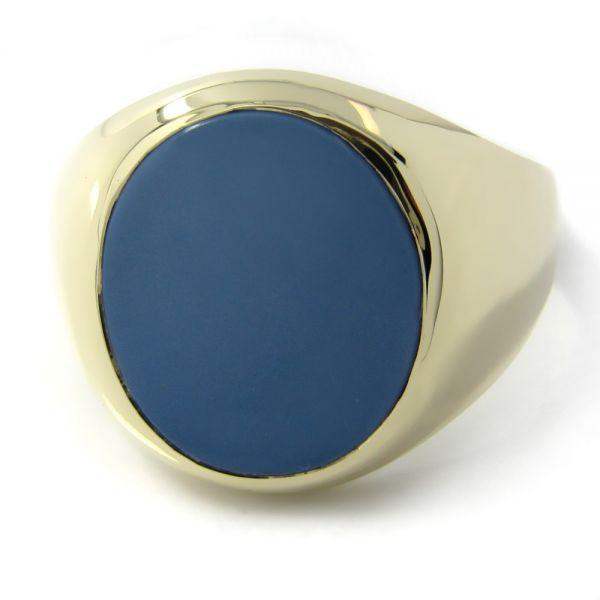 Siegelring in Gold mit Stein 16x14 mm oval, ECO