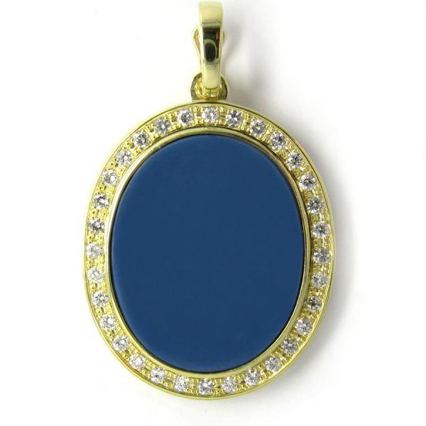 Clipanhänger in Gold mit Stein 25x20 mm oval und 32 Brillanten