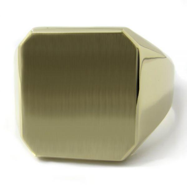 Siegelring XXXL in Gold mit Gravurplatte 20x18 mm Achteck