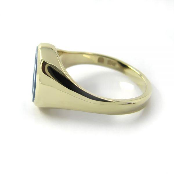 Siegelring in Gold mit Stein 10x8 mm oval, schmal