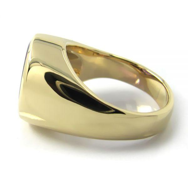 Siegelring-Anfertigung in Gold mit Amethyst 14x12 mm
