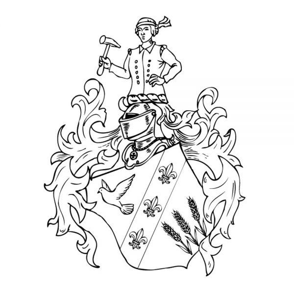 Vollwappen-Gravur in Stein