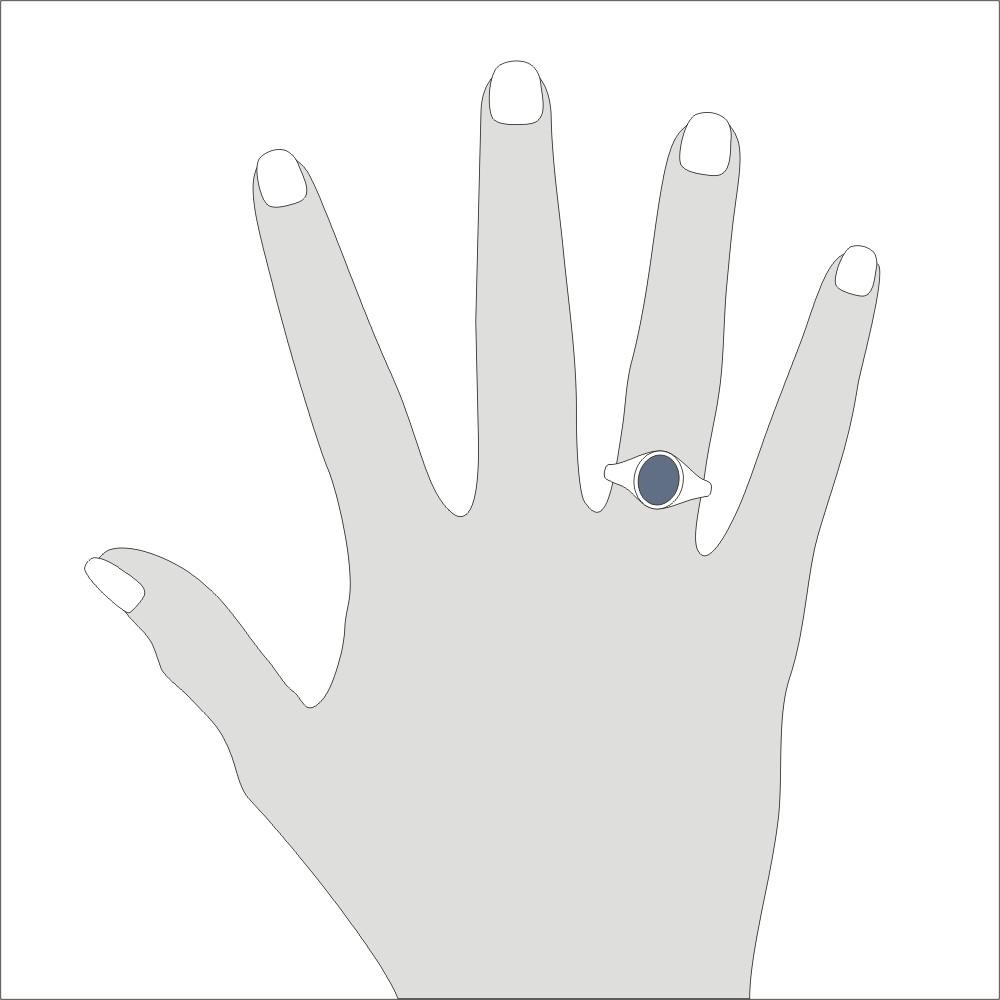 Siegelring in Weissgold mit Stein 10x8 mm oval, schmal