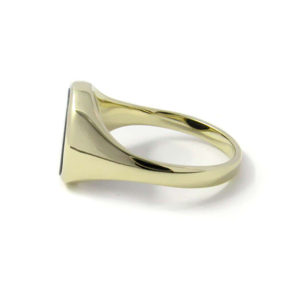 Siegelring in Gold mit Stein 12x10 mm oval, schmal