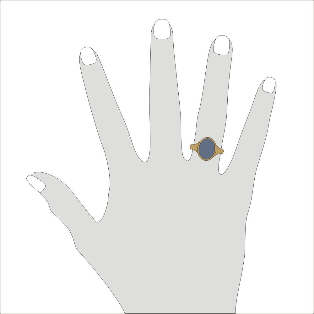 Siegelring in Gold mit Stein 13x10 mm oval, schmal