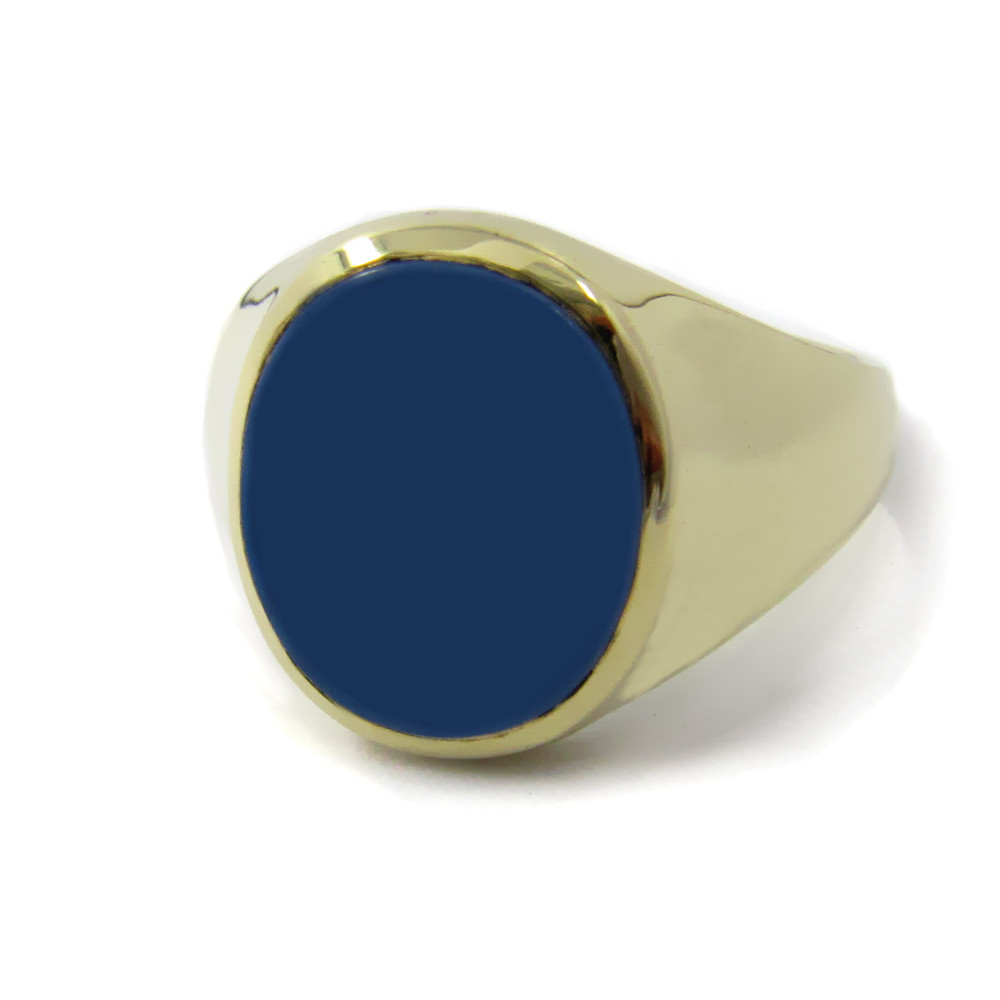 Siegelring in Gold mit Stein 14x11 mm oval, tailliert