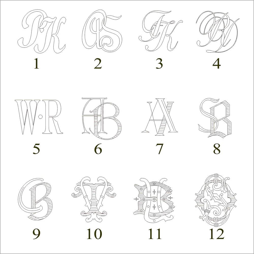 Monogrammgravur in Metall - vertieft