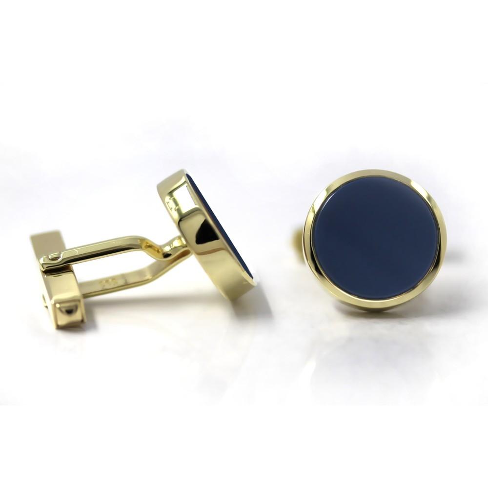 Manschettenknöpfe in Gold mit Stein 14 mm rund