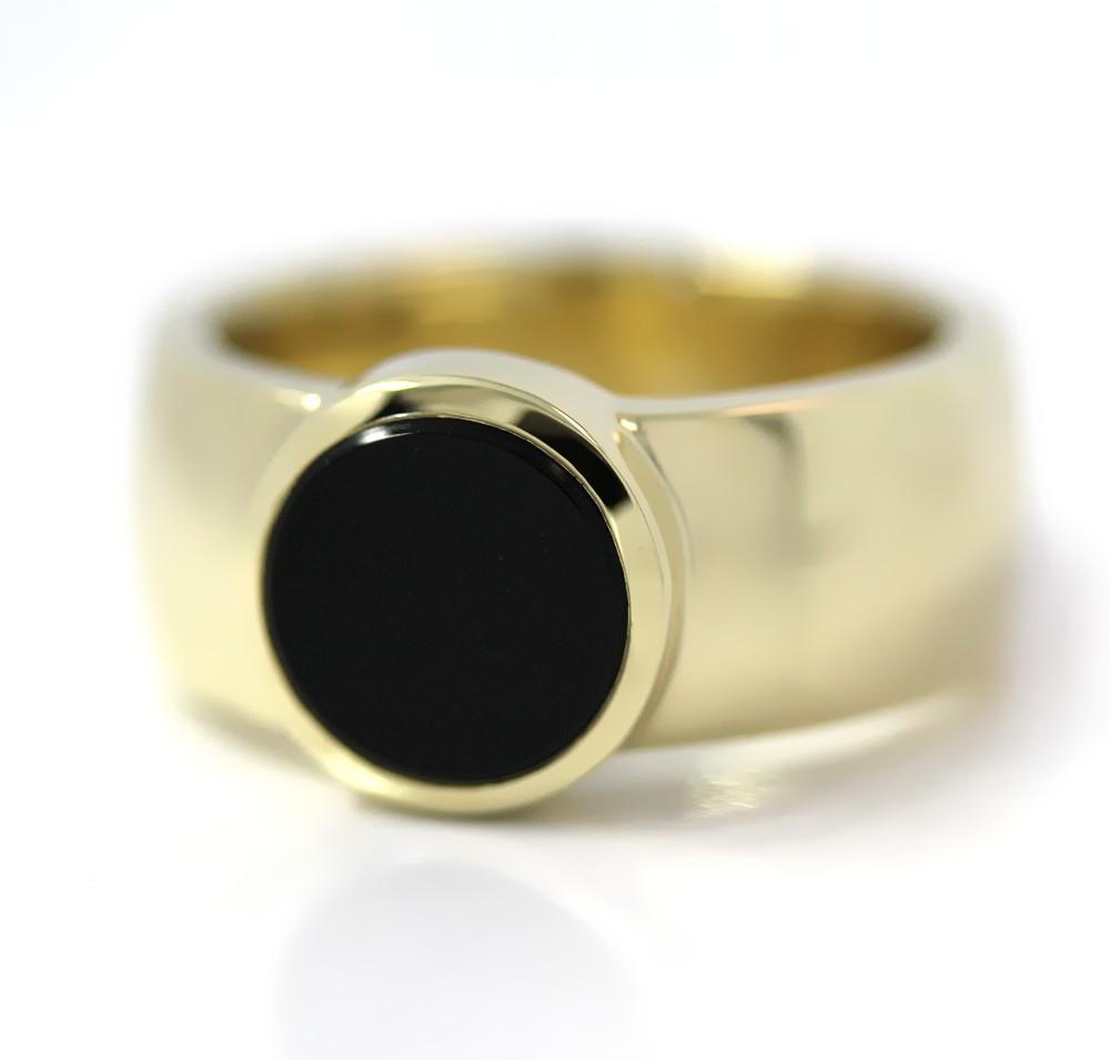 Siegelring in Gold mit Stein 10 mm rund