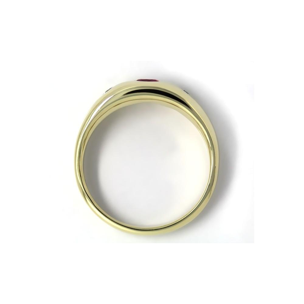 Bandring in Gold, 4 mm Rubin und 2 Brillanten