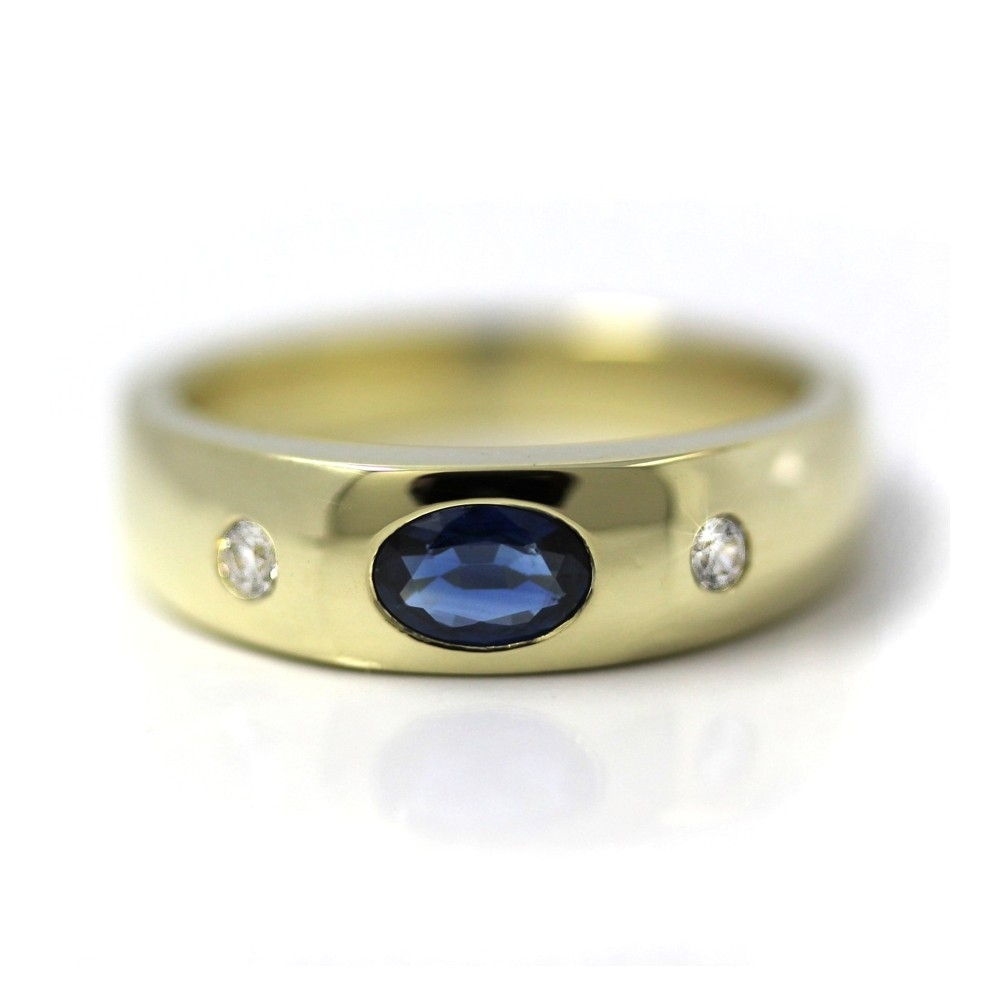 Bandring in Gold, 6x4 mm Saphir und 2 Brillanten