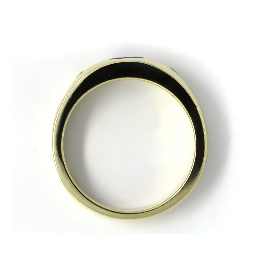 Bandring in Gold, 6x4 mm Saphir und 2 Brillanten