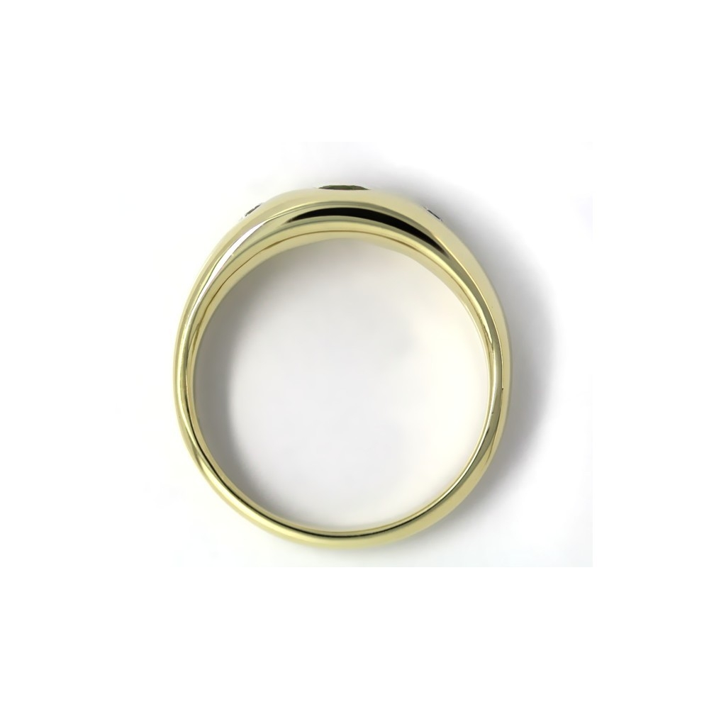 Bandring in Gold, 4 mm Smaragd und 2 Brillanten