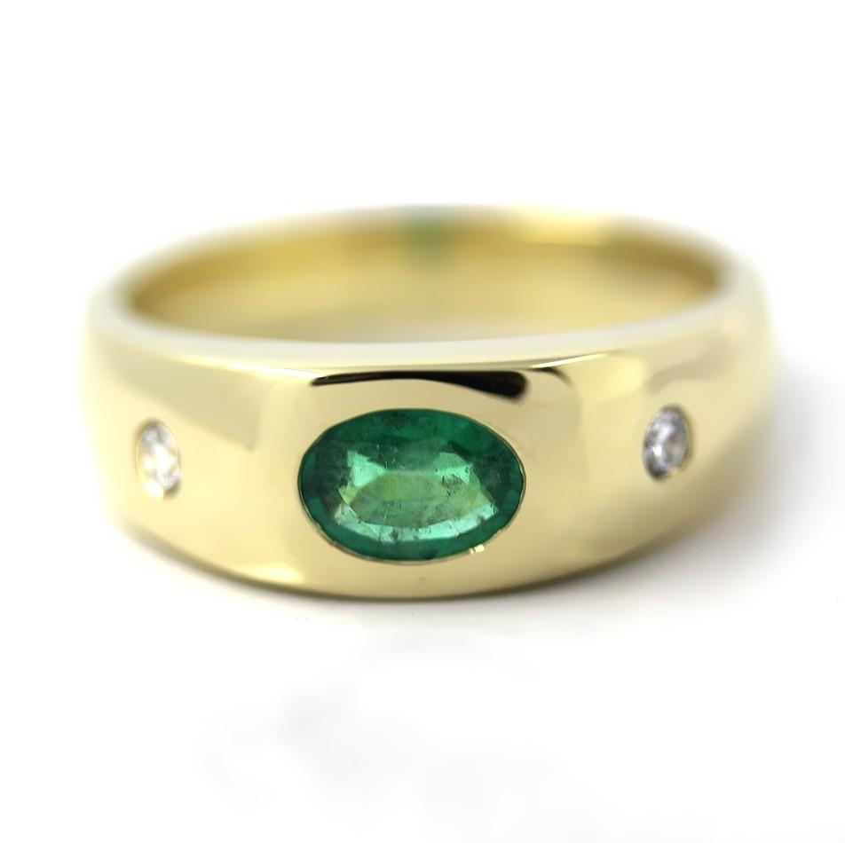 Bandring in Gold, 7x5 mm Smaragd und 2 Brillanten