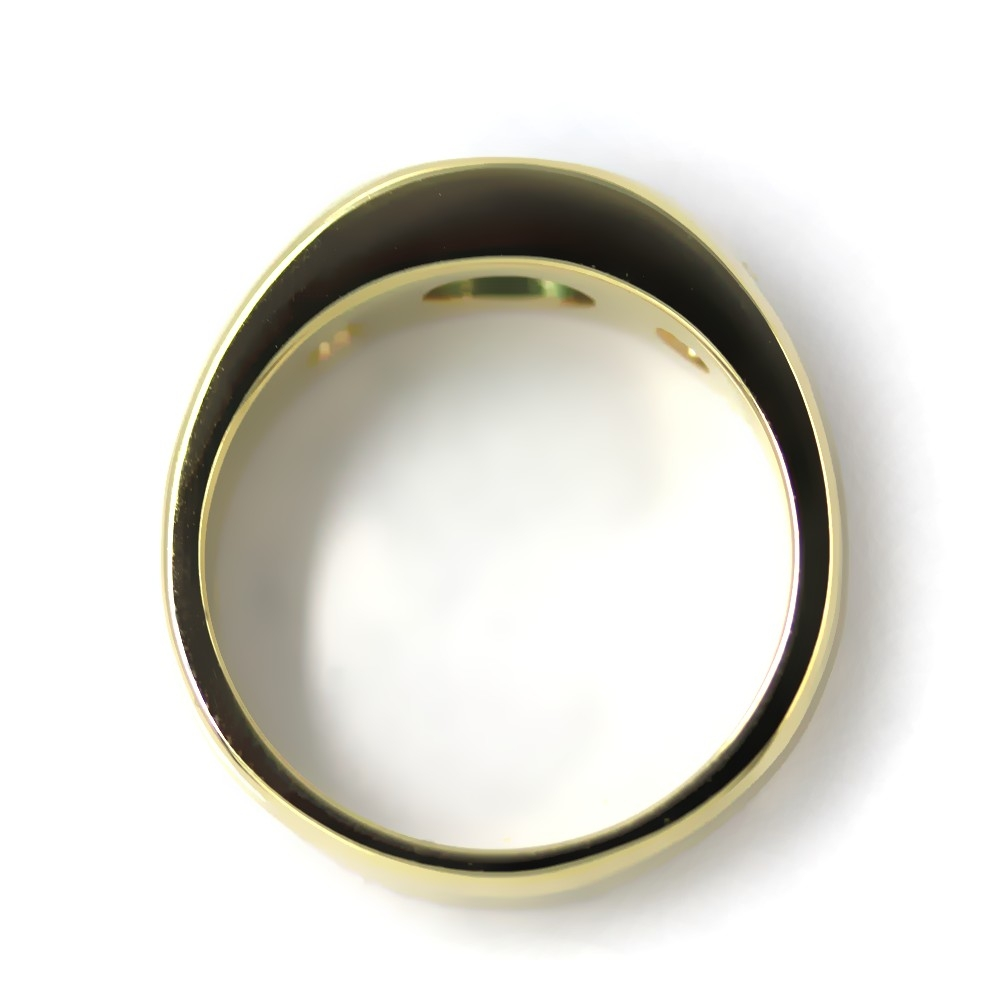 Bandring in Gold, 7x5 mm Smaragd und 2 Brillanten