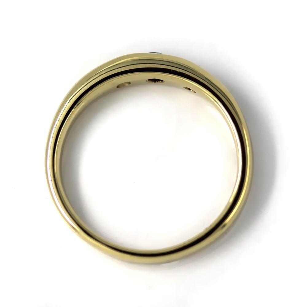Bandring in Gold, 3 mm Saphir und 2 Brillanten