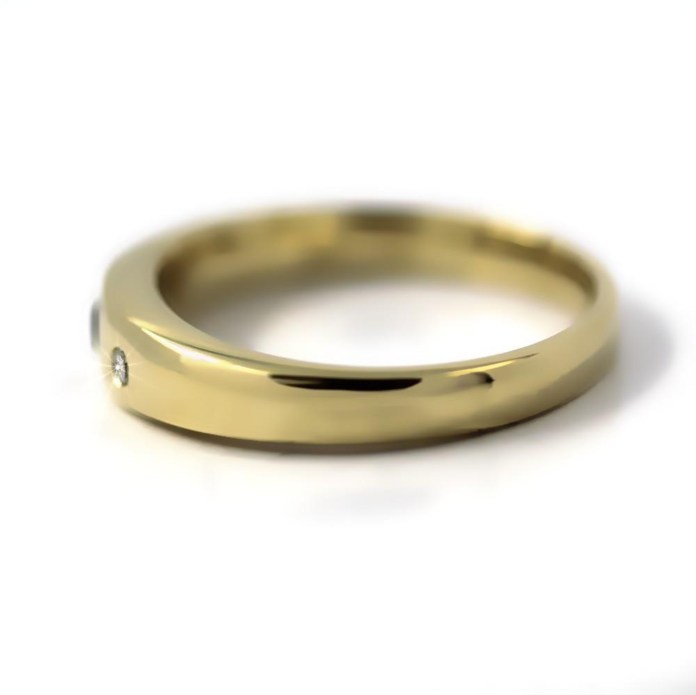 Bandring in Gold, 3 mm Rubin und 2 Brillanten
