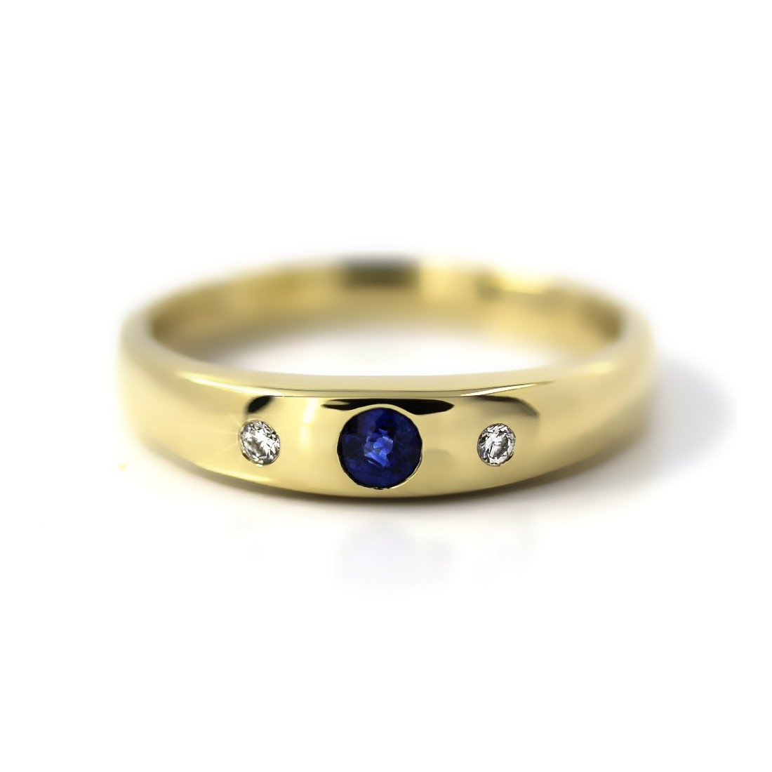 Bandring in Gold, 3 mm Saphir und 2 Brillanten
