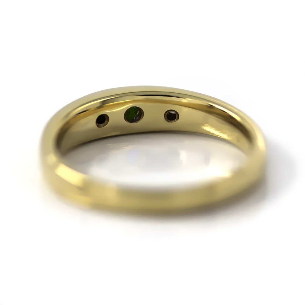 Bandring in Gold, 3 mm Smaragd und 2 Brillanten