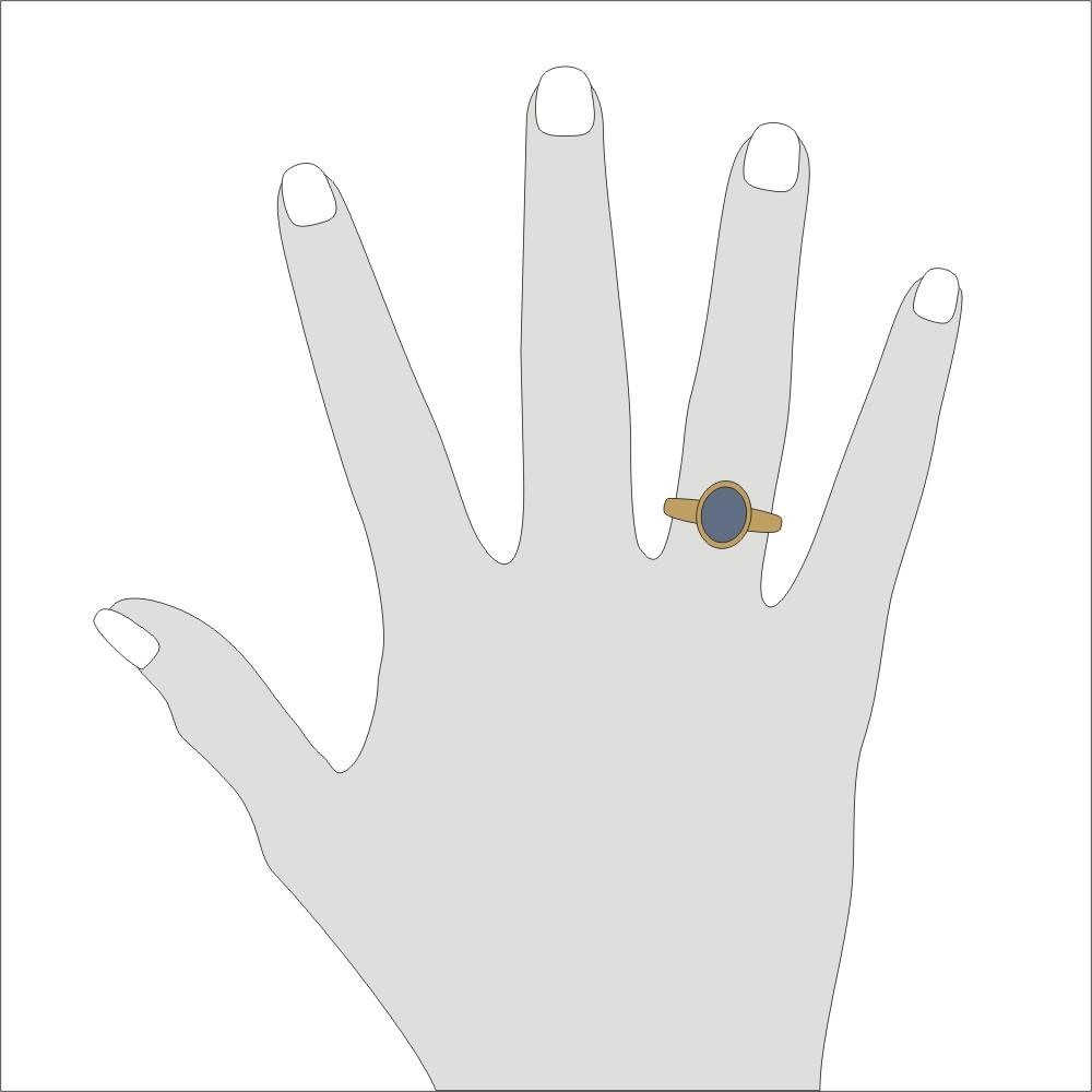 Siegelring in 585 Gold mit Stein 10x8 mm oval, Ringgröße 53