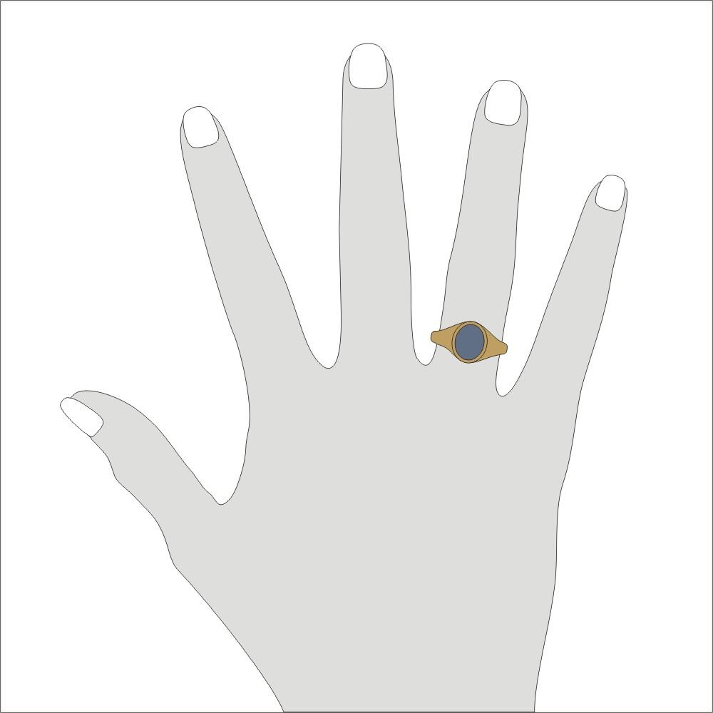 Siegelring in 333 Gold mit Lagenstein 10x8 mm oval, Ringgröße 46