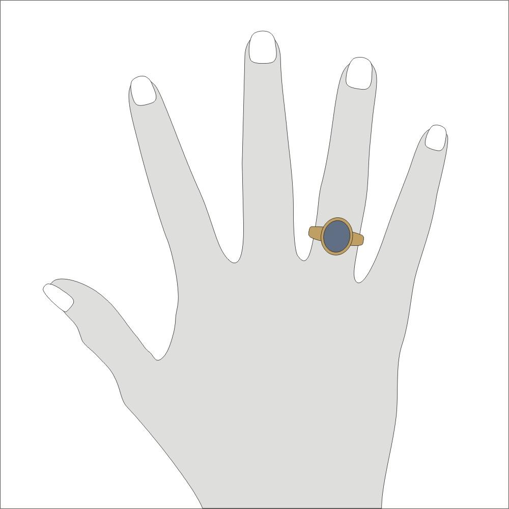 Siegelring in 333 Gold mit Stein 12x10 mm oval, Ringgröße 54
