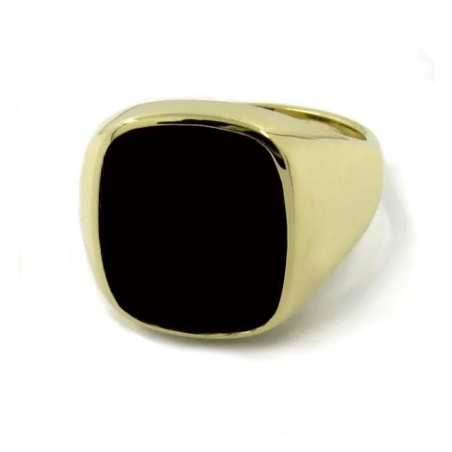 Siegelring in 750 Gold mit Onyx 13,5x12 mm antik, Ringgröße 60