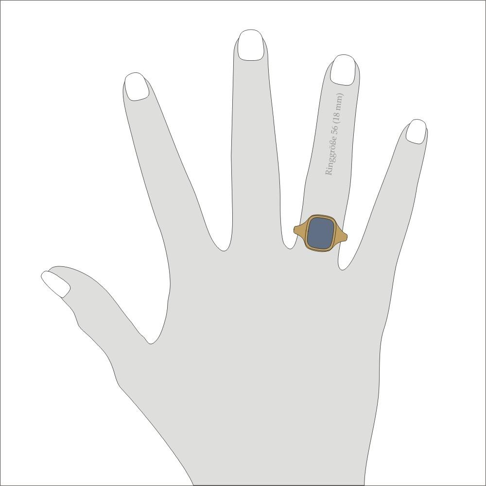 Siegelring in 333 Gold mit Lagenstein 12x10 mm antik, Ringgröße 60