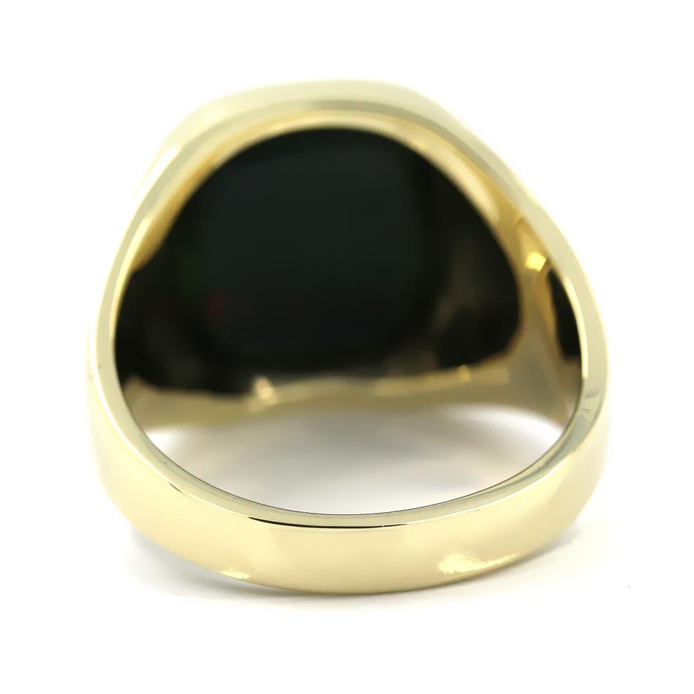 Siegelring in 585 Gold mit Heliotrop 14x12 mm antik, Ringgröße 62