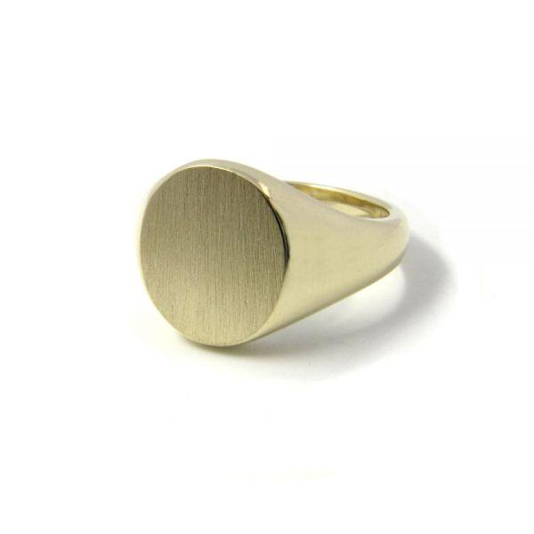 Siegelring in 333 Gold mit Gravurplatte 11,5x10 mm oval, Ringgröße 52
