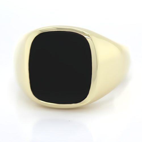 Siegelring in 585 Gold mit Onyx 15x13 mm antik, Ringgröße 64