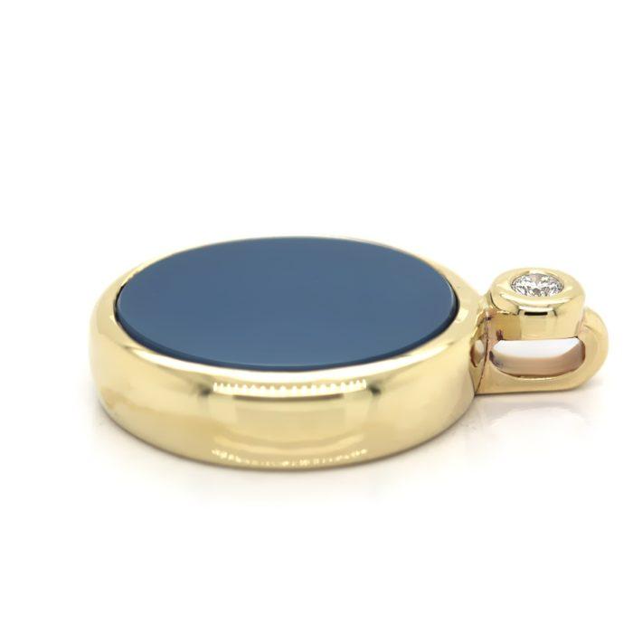Anhänger in Gold mit Stein 15x13 mm oval und Brillant