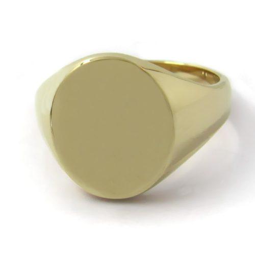 Siegelring in 333 Gold mit Gravurplatte 15x12,5 mm oval, Ringgröße 53,5