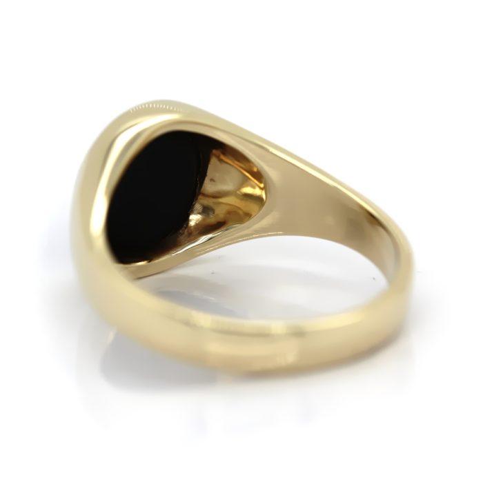 Siegelring in 333 Gold mit dunklem Lagenstein 10,5×9 mm oval, Ringgröße 59