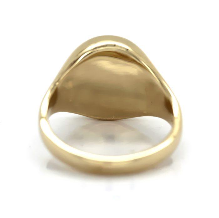 Siegelring in 585 Gold mit Lagenstein 11x9 mm oval, Ringgröße 48